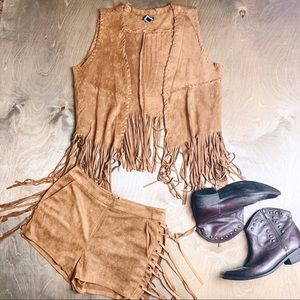 NWT LOVERICHE/FORNIA 2 Piece Western Fringe Set